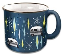 CAMPING RV TRAVEL MUG CUP VINTAGE BLUE